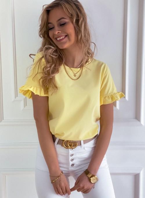 T-shirt z falbanką na rękawie Tifi w kolorze bananowym 3