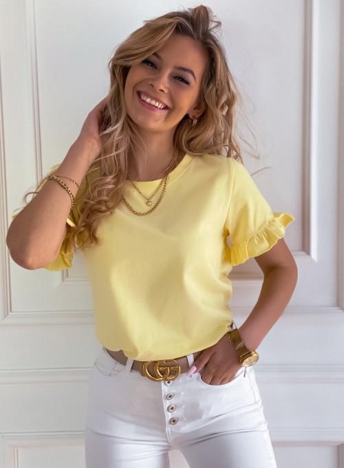 T-shirt z falbanką na rękawie Tifi w kolorze bananowym 4