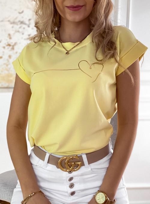 T-shirt Serce w kolorze bananowym 1