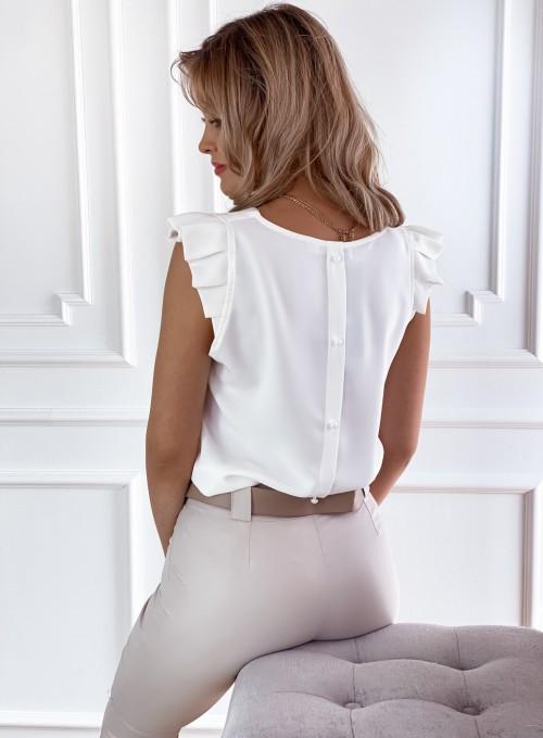 Bluzka z guziczkami na plecach śmietankowa 1