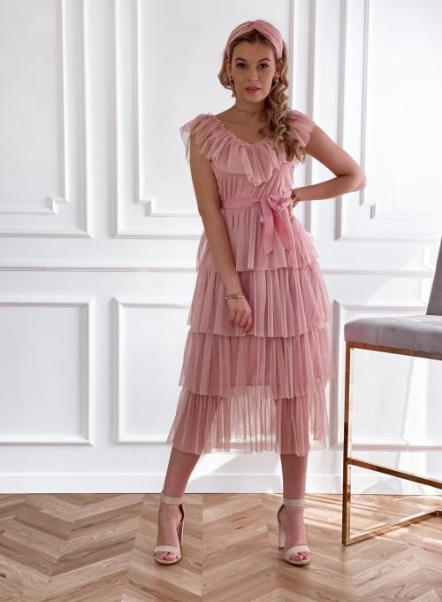 Koronkowa sukienka hiszpanka z falbankami pudrowa