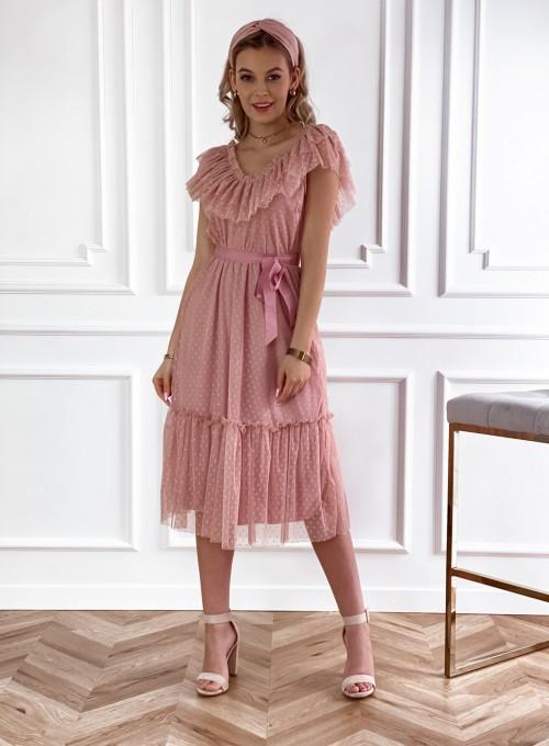 Koronkowa sukienka hiszpanka Latina pudrowa