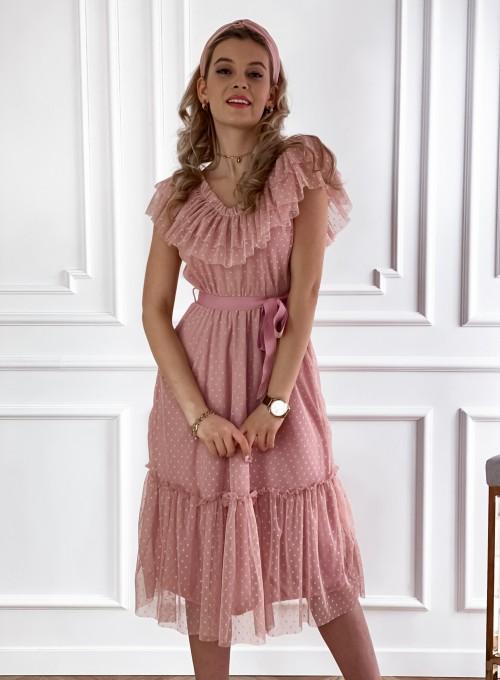 Koronkowa sukienka hiszpanka Latina pudrowa 2