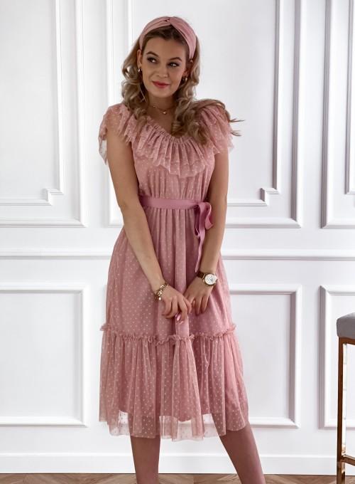 Koronkowa sukienka hiszpanka Latina pudrowa 3