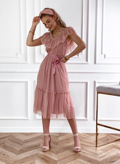 Koronkowa sukienka hiszpanka Latina pudrowa 4