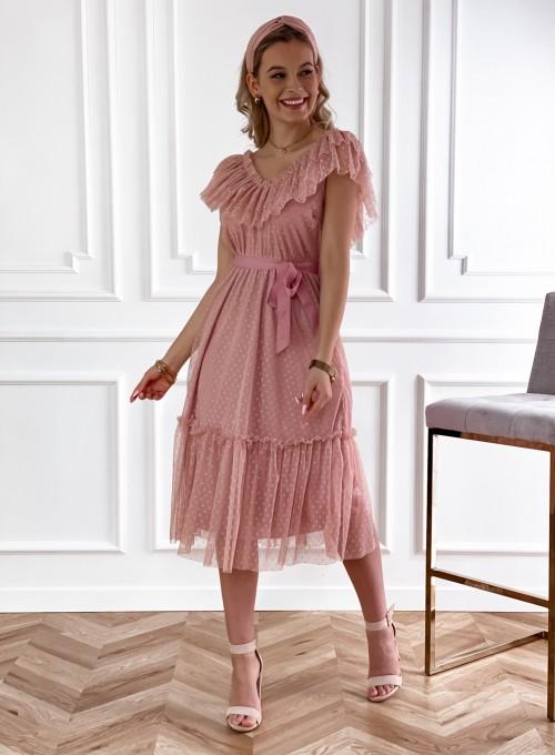 Koronkowa sukienka hiszpanka Latina pudrowa 5