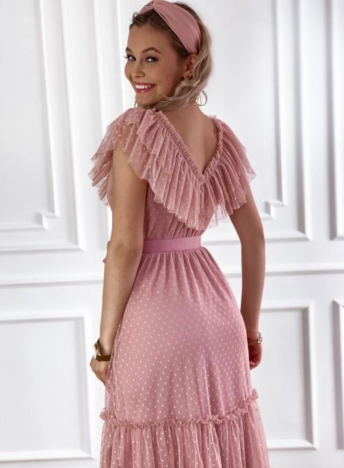 Koronkowa sukienka hiszpanka Latina pudrowa 1