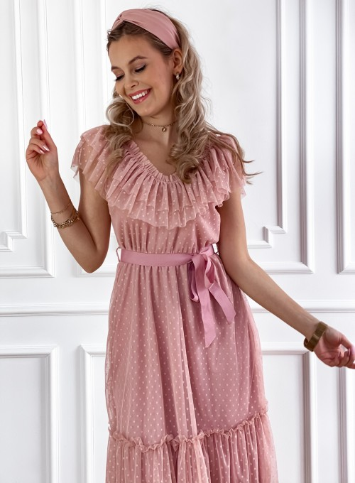 Koronkowa sukienka hiszpanka Latina pudrowa 6