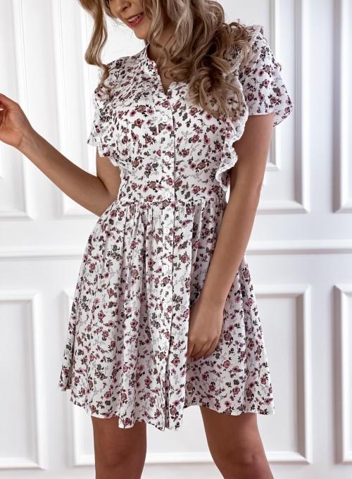 Sukienka Gina beżowa w kwiatki 3