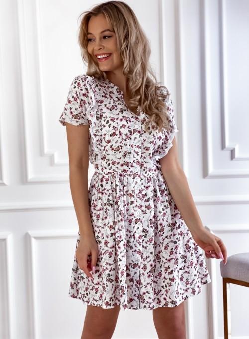 Sukienka Gina beżowa w kwiatki 4