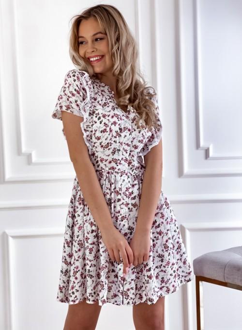 Sukienka Gina beżowa w kwiatki 5