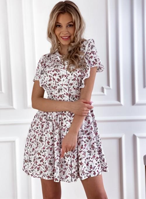 Sukienka Gina beżowa w kwiatki 6