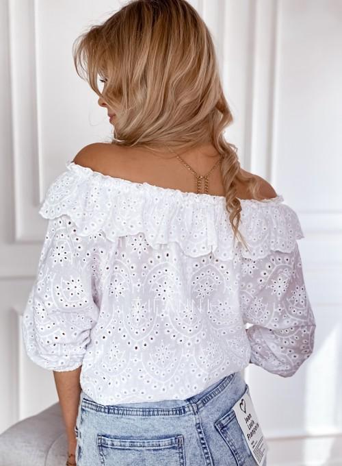 Ażurowa bluzka Ana zawiązywana z przodu biała 3