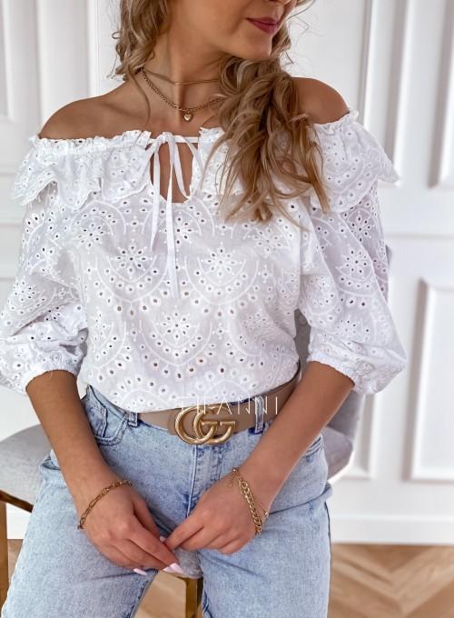 Ażurowa bluzka Ana zawiązywana z przodu biała 1