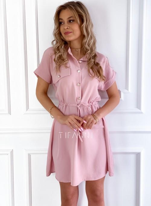 Sukienka z kołnierzykiem Sandi pudrowa