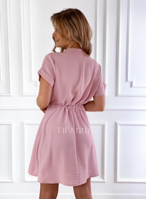 Sukienka z kołnierzykiem Sandi pudrowa 3