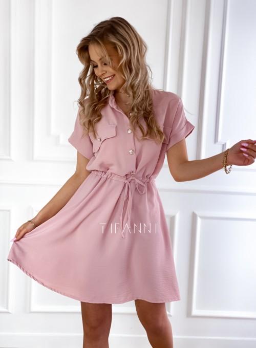 Sukienka z kołnierzykiem Sandi pudrowa 1