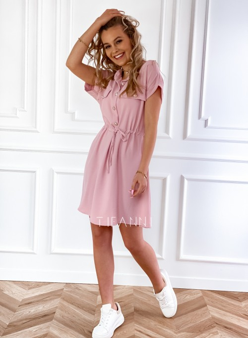 Sukienka z kołnierzykiem Sandi pudrowa 4