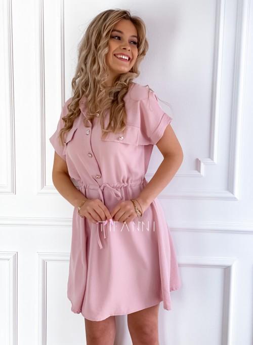 Sukienka z kołnierzykiem Sandi pudrowa 6