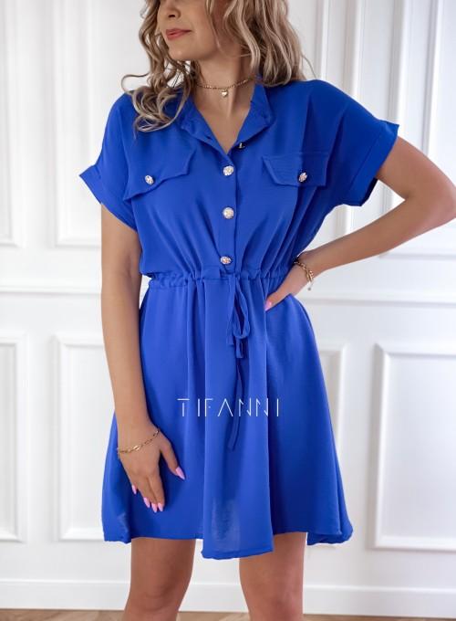 Sukienka z kołnierzykiem Sandi kobaltowa 1