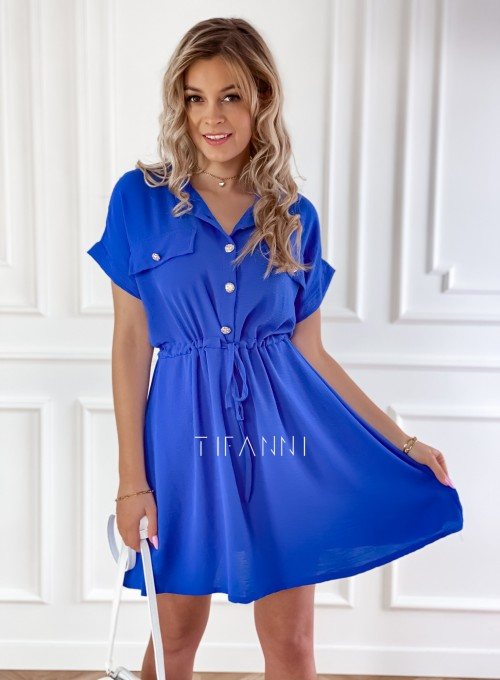 Sukienka z kołnierzykiem Sandi kobaltowa 2