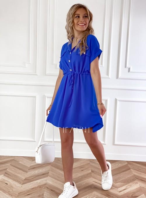 Sukienka z kołnierzykiem Sandi kobaltowa 6