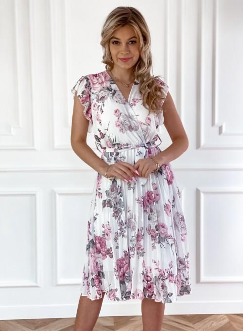 Plisowana kwiatowa sukienka Auris III 4