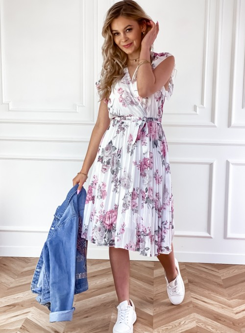 Plisowana kwiatowa sukienka Auris III 1
