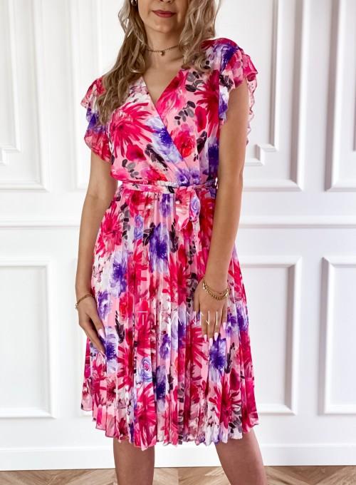 Plisowana kwiatowa sukienka Auris IV 1