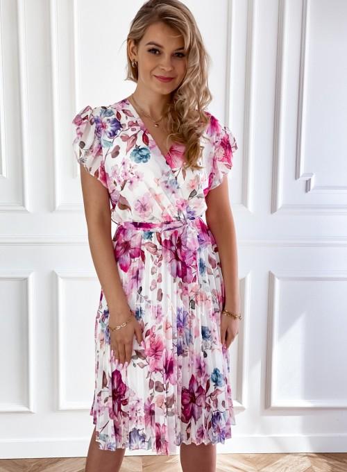 Plisowana kwiatowa sukienka Auris V 3