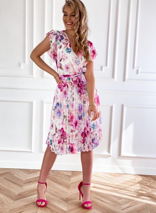 Plisowana kwiatowa sukienka Auris V 1