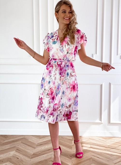 Plisowana kwiatowa sukienka Auris V 4