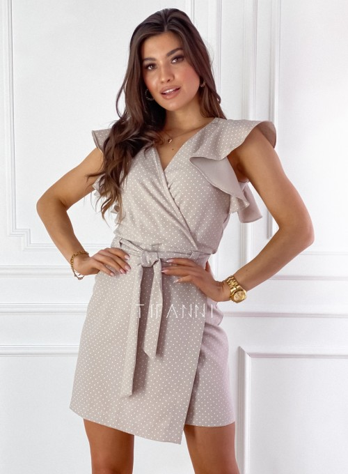 Elegancka sukienka Cristi beżowa w jasne groszki