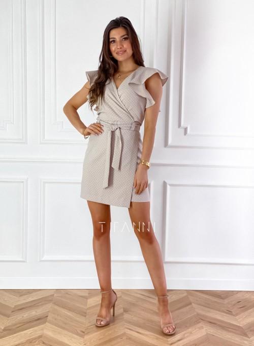 Elegancka sukienka Cristi beżowa w jasne groszki 2