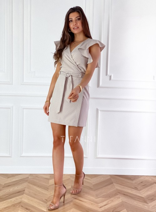 Elegancka sukienka Cristi beżowa w jasne groszki 3
