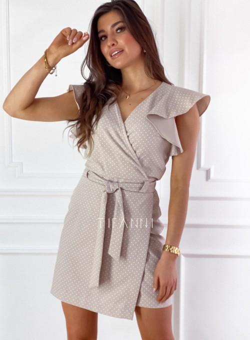 Elegancka sukienka Cristi beżowa w jasne groszki 4