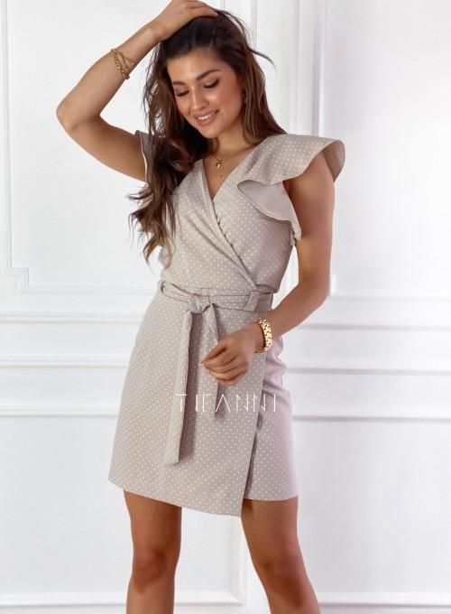 Elegancka sukienka Cristi beżowa w jasne groszki 5