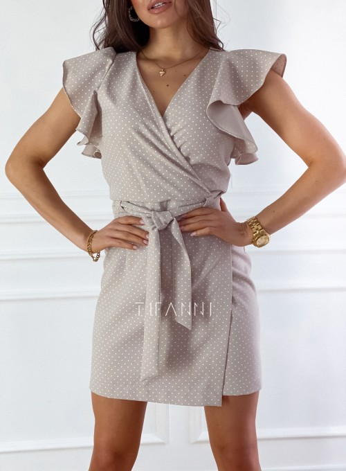 Elegancka sukienka Cristi beżowa w jasne groszki 1