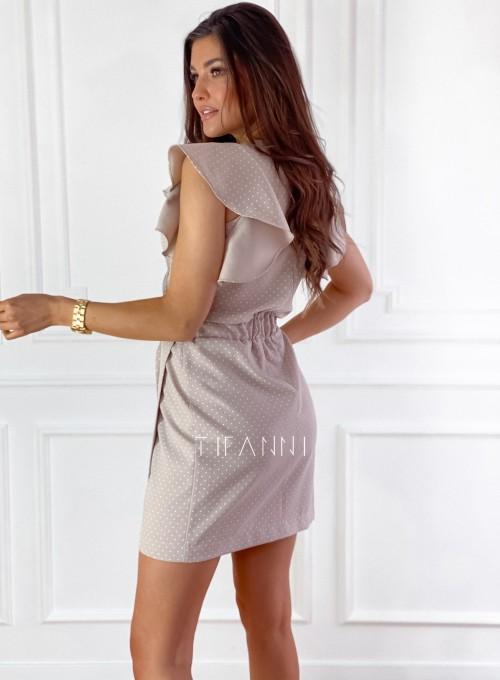 Elegancka sukienka Cristi beżowa w jasne groszki 6