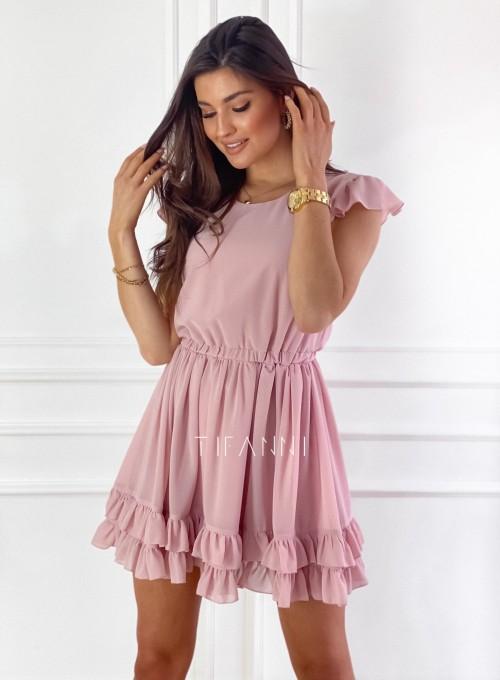 Zwiewna sukienka Passion pudrowa
