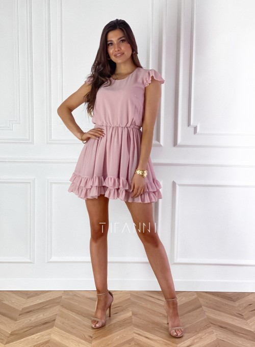 Zwiewna sukienka Passion pudrowa 3