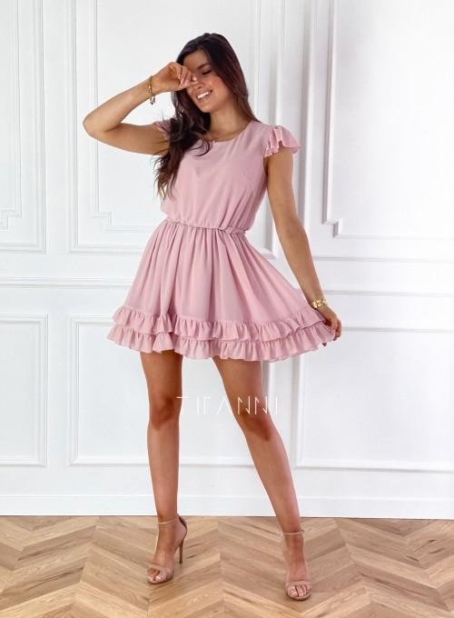Zwiewna sukienka Passion pudrowa 1