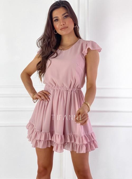 Zwiewna sukienka Passion pudrowa 5