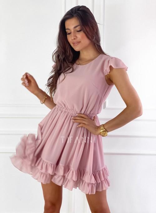 Zwiewna sukienka Passion pudrowa 6
