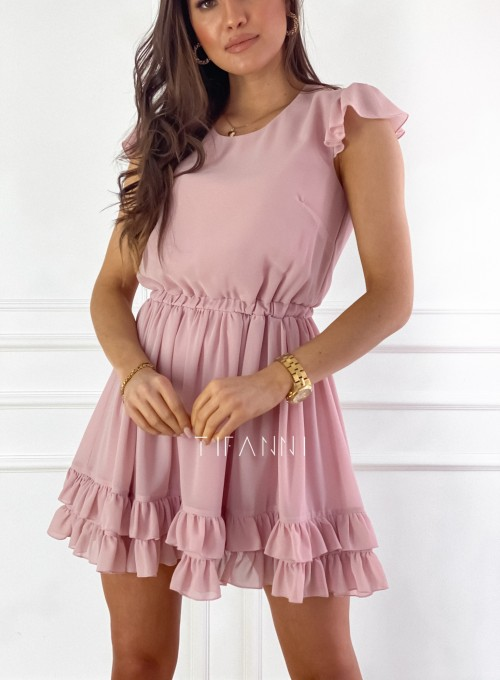 Zwiewna sukienka Passion pudrowa 2