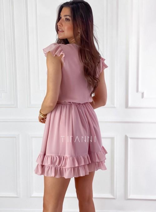 Zwiewna sukienka Passion pudrowa 7