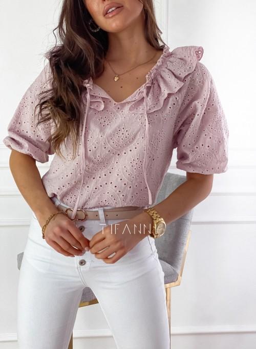Ażurowa bluzka Ana zawiązywana z przodu pudrowa 1