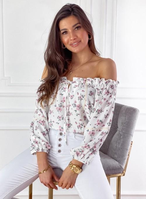 Bluzka hiszpanka Remmi śmietankowa w kwiatki 2