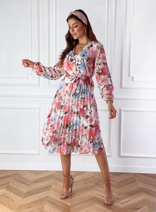 Plisowana sukienka z kwiecistym printem Versi