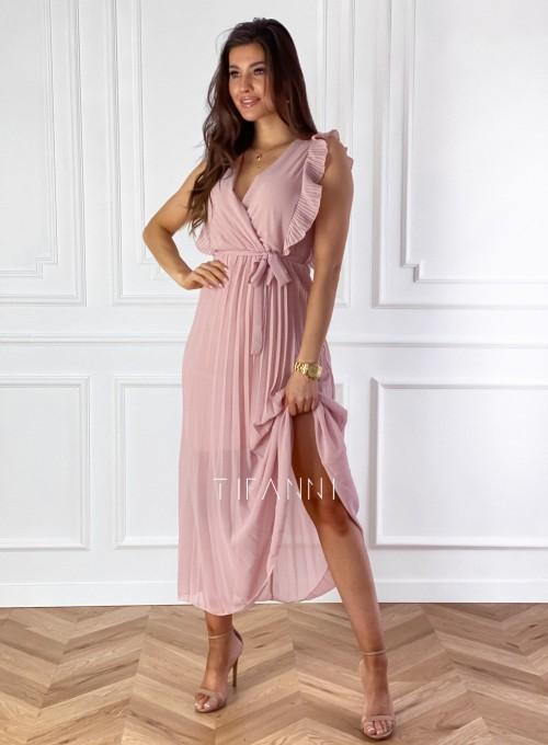 Długa plisowana sukienka Debra pudrowa 2